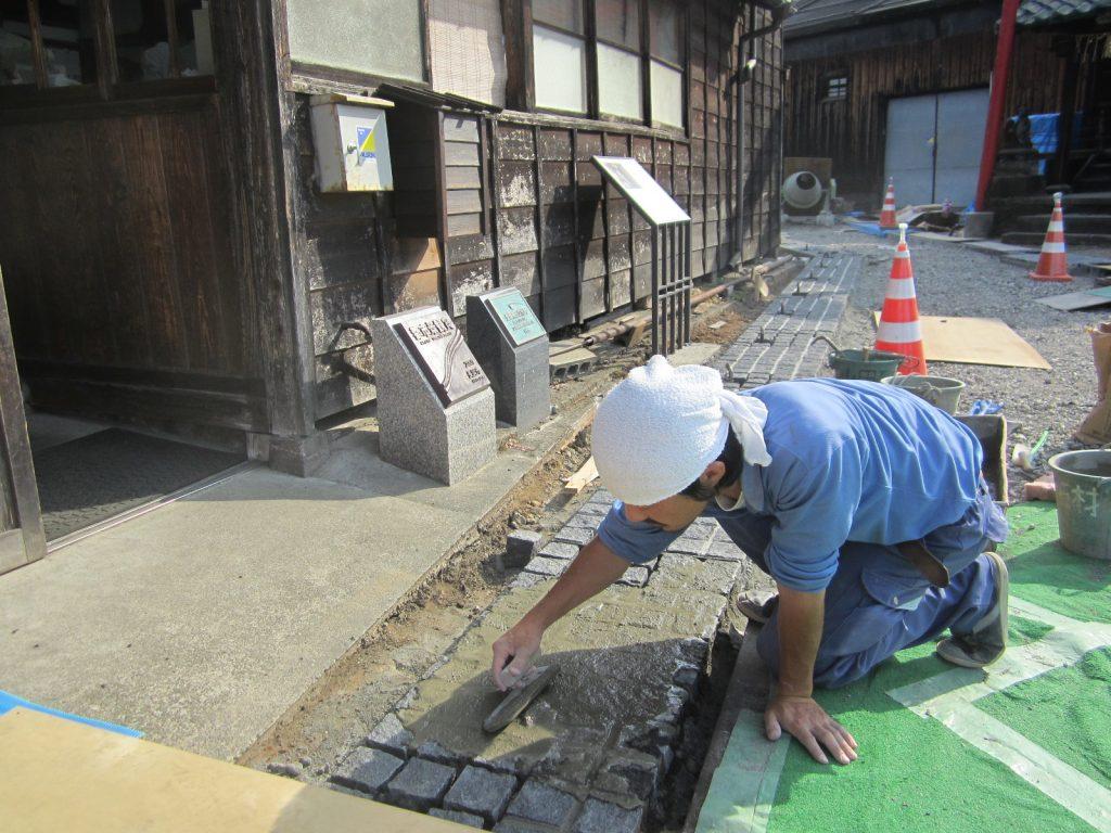 摂田屋地区旧三国街道美装化工事施工写真